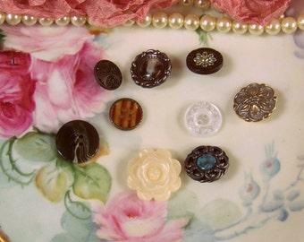 Scrapbook Button Assortment, Craft Buttons, Paper Craft Supplies, Embellishments, Buttons, Decorative Buttons, Rose Buttons, Brown Buttons