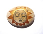 Hand painted Sun face painted art stone/paperweight.