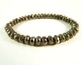 Pyrite Stretch Bracelet Faceted Rondelle Beads 6mm x 4mm