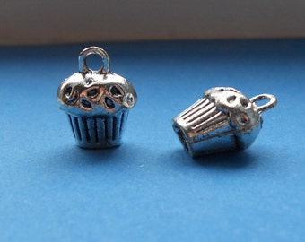 10 Delicious CUPCAKE Charms Small 3-D Baker Foodie Dessert Atq Silver Tone Charm Jewelry 12x9 mm