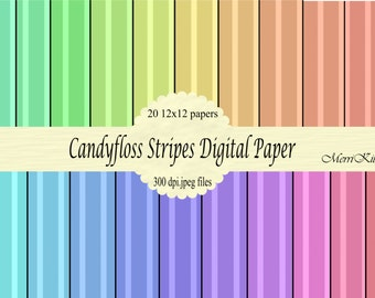 """INSTANT DOWNLOAD - Digital Scrapbook Paper Pack - Candyfloss Stripes - NO.9 - 20 12""""x12"""" Digital Papers"""