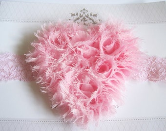 Light Pink Heart Headband, Baby Headbands, Heart Headbands, Baby Girl Headbands, Infant Headbands, Baby Bows