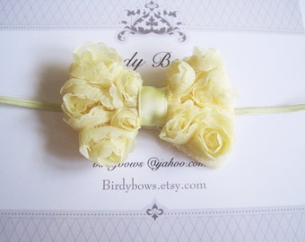 Light Yellow Baby Bow, Infant Bow, Baby Girl Bow, Baby Headbands, Infant Headbands, Baby Girl Headbands
