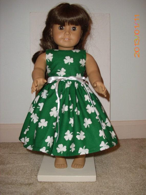 St patricks day handmade dress with shamrocks by