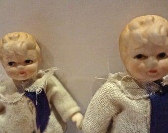 SALE. antique bisque miniature dolls - TWINS- all original