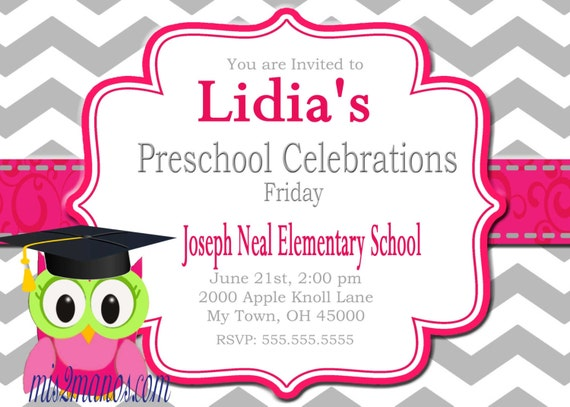 Graduation Invitation Preschool Kinder diy Printable Party Invites Personalized Custom Orders
