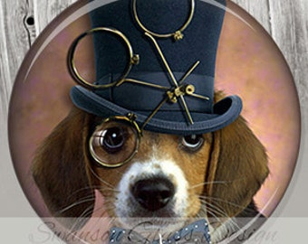 Steampunk Beagle Dog Pocket Mirror | Photo Mirror | Party Favor | Compact Mirror | Gift under 5 | Dog Illustration Image A84