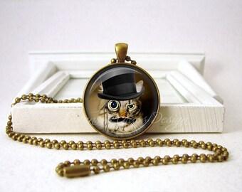 Steampunk CAT Pendant - Steampunk Cat Jewelry - Black Mustache CAT - Steampunk Jewelry -  Bronze Jewelry B30