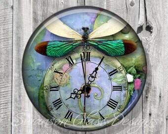 Pocket Mirror - Steampunk Green Dragonfly Photo Mirror - Compact Mirror - Green Blue - Wedding Favor - Bridesmaid Gift A60