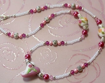 O O A K - Lampwork Glass Beaded Necklace - KISS from a ROSE - N110