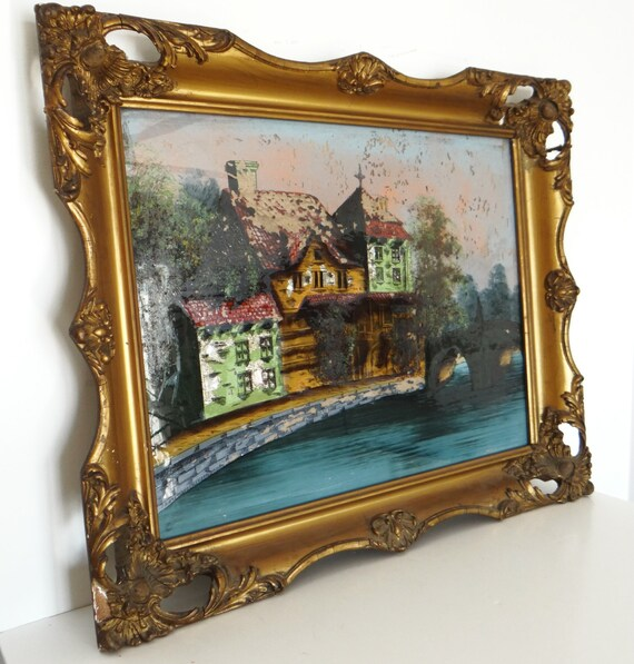 antique glass painting gilded frame