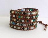 Leather Wrap Bracelet - Fancy Jasper, Agate Semi-Precious Stone, light Brown Leather - Boho Chic