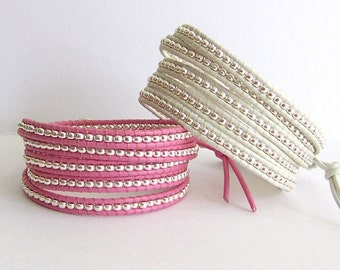 Pink or White Leather Wrap Bracelet - Silver Nuggets, Pink or White Leather - Bohemian Artisan Jewelry, Cancer Awareness