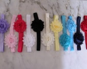 Baby Girl headbands, Set of 5 single shabby, Baby Headbands, Toddler Headband, Newborn Headband, Head band, Baby Bows, Shabby Chic Headbands