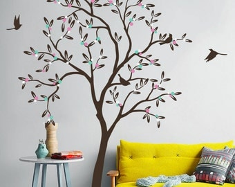 "Baby Nursery Tree Wall Decal Wall Sticker - Tree Wall Decal - Tree Decals - Large: approx 85"" x 54"" - KC012"