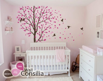 """Baby Nursery Wall Decals - Cherry Blossom Tree Wall Decal - Birds Decal - Large: approx 83"""" x 75"""" - KC010"""
