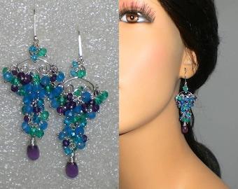Gemstone Earrings, Sterling Silver Earrings, Amethyst Earrings, Multi Gemstone Earrings