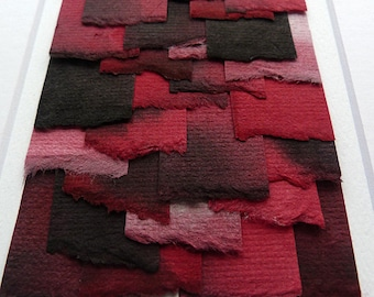 Contemporay Art Original Torn Paper Collage Handpainted Shades of Red and Black