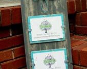 Picture Frame with Wire Cross - Distressed Wood - Holds 2 - 5x7 Photos - Gray and Aqua