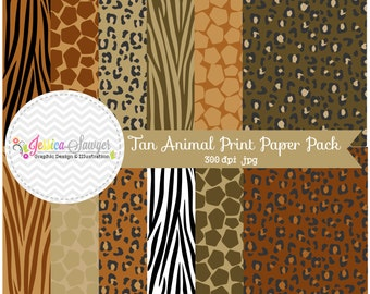 INSTANT DOWNLOAD,  Natural animal print digital paper, zebra paper pack, leopard background, classic leopard papers for commercial use