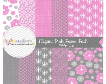 INSTANT DOWNLOAD,  Elegant digital paper - 8.5 x 11 - wedding background - pink paper -  - commercial use - scrapbooking - card making