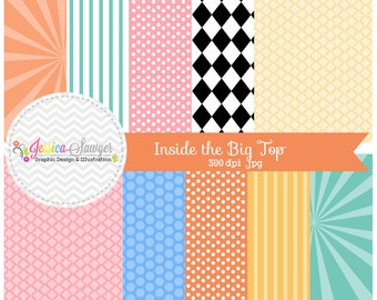INSTANT DOWNLOAD, , circus digital paper, circus backgrounds, for commercial use, scrapbooking, invitations