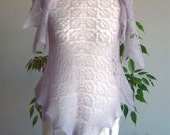 Scarf Pearl Grey Lilac Kidsilk Hand Knitted Triangular Lace Shawlette.Leafy Kid Silk Shawl. MADE TO ORDER