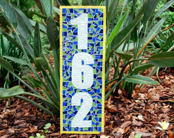Address Sign, Custom Mosaic House Numbers, Yellow and Blue