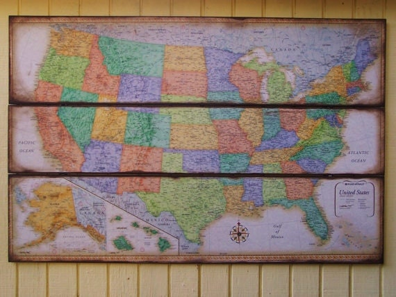 items similar to map of united states of america large wall decor wall map on etsy. Black Bedroom Furniture Sets. Home Design Ideas