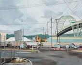 Fremont Bridge Limited Edition Print, Urban landscape, Oil painting, Portland Oregon
