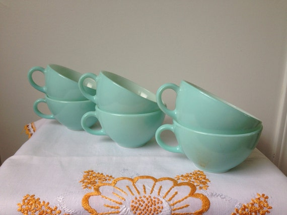 Pyrex Family Flair, Sea Isle, Turquoise, Cups, Set of Six, Plus One Bowl