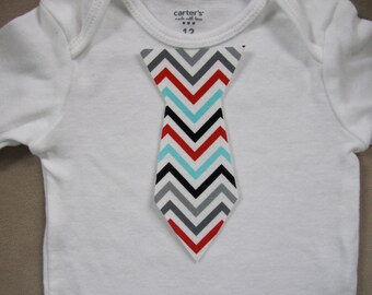 No Sew Iron-on baby tie chevron turqoise, red, black and white for baby boy bodysuit