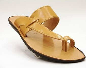 Man Natural Leather Sandals