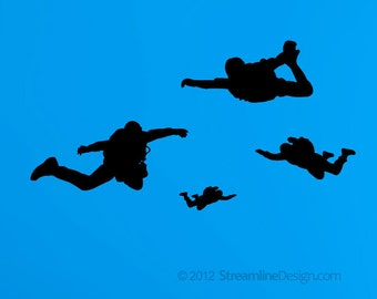 Smaller Skydivers Vinyl Wall Art Set of Four Great with Airplanes FREE SHIPPING, skydiving wall stickers planes air sports diving wall art