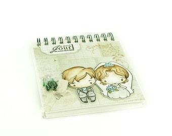 Romantic sweet bridal couple wedding guestbook
