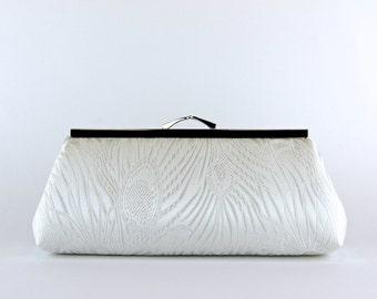 EllenVintage Peacock off White  Clutch (choose your color), Silk lining, Bridal clutch, Bridesmaid gift, Wedding clutch, Bridesmaid clutch