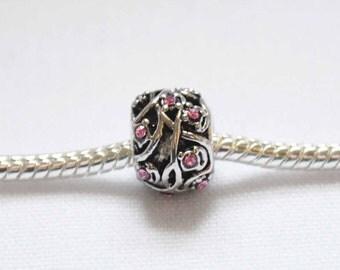 Pink  Crystal  Bead for European Style Charm Bracelet.
