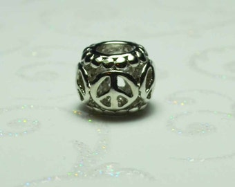 Peace Spacer Bead  For European Style Charm Bracelet - Silver Plated