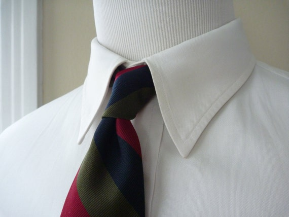Vintage Michaelson's of LONDON Repp Striped Trad / Ivy League Neck Tie.  Made in England.