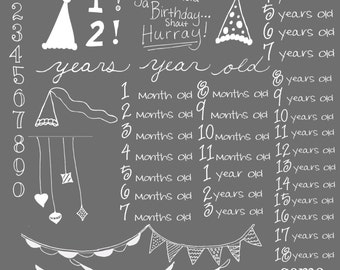 Birthday, Numbers, Banners, and Buntings Photoshop Brushes/ Overlays for Photographers / chalk/ Clip Art / Stamps / Digital Scrapbooking