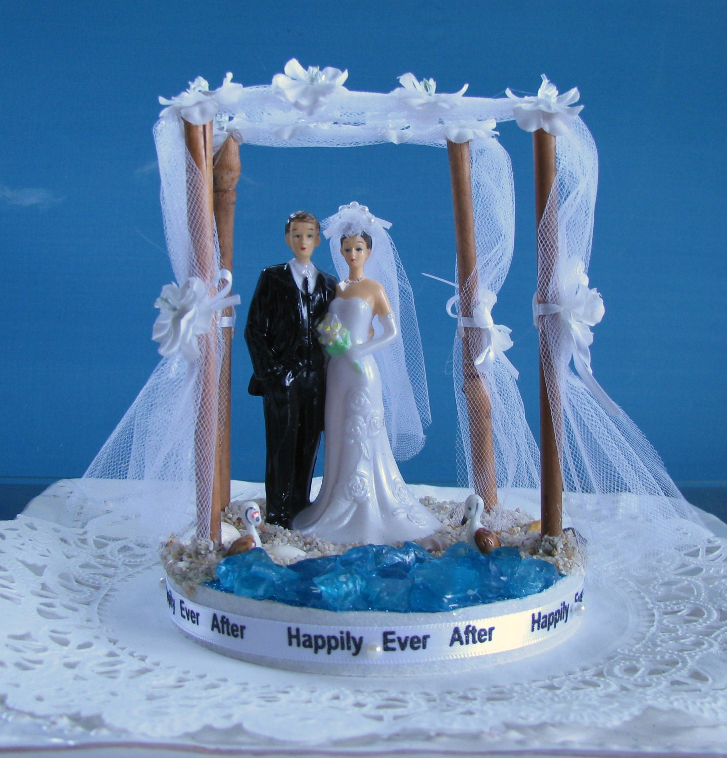 Beach Wedding Cake Topper Bride and Groom Cake by