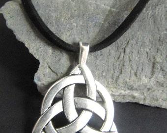 Men's/Boy's Large Celtic Trinity Knot Necklace on Black  Suede