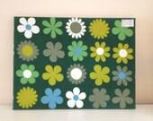Vintage Retro Wall Art - Heidi by Genia Sapper Fabric on Canvas 1960s Green