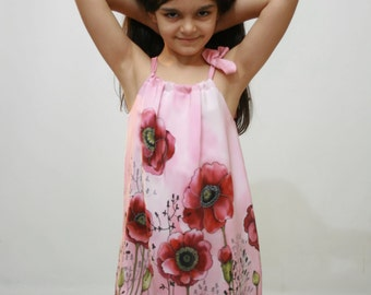 Pillow case dress. Cherry red  Poppies hand painted silk dress . Cherry Red, Green dress . Gift for kids. Made to order.