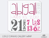 Personal Baby Birth Announcement Canvas Wall Decor 12x12