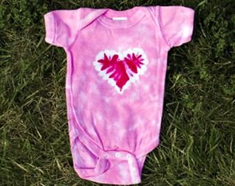 Pink Heart Tie-Dye Onsie
