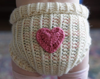 Crochet Wool Soaker - Cloth Diaper Wool Soaker with Heart Applique