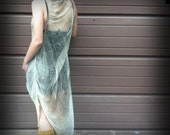 Shredded Bleached Green Dress