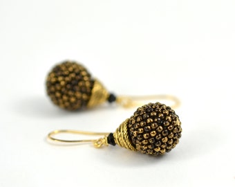"Beaded Bead Gold plated 22K earrings ""Black gold"" 24K Gilded Marble Black seed beads Minimalist Modern Beadwork  Jewelry"