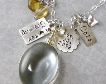 Nana Jewelry Gift for Grandma from Child  Nana Glass Locket Necklace Photo Locket Grammy Mamma Personalized Heart Charm Sterling L1